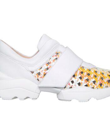 Sneakers mit Metallic-Fishnet-Optik und breiter Profilsohle-0