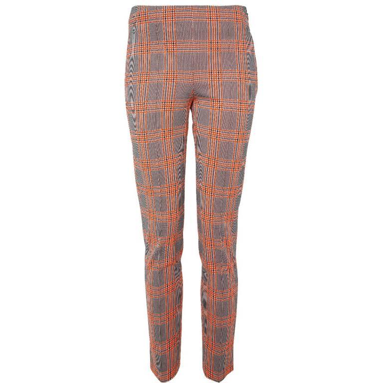 Slim-Pants mit Karomuster und seitlicher Zippschließe-0