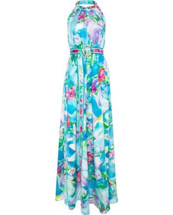 Bodenlanges Holderneck-Kleid in Seide mit Taillengürtel-0