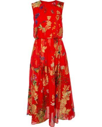 Kleid in Midi-Länge im Seidengemisch mit floralen Goldmotiven-0