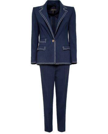 Anzug aus Blazer und Slim-Pant mit Kontrastnähten-0