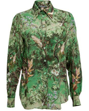 Bluse aus Seide mit floralen Muster und langen Ärmeln-0