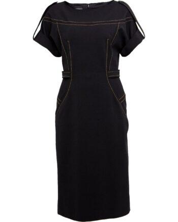 Tailliertes Gabardine Minikleid mit kurzen Ärmel und Taschen-0