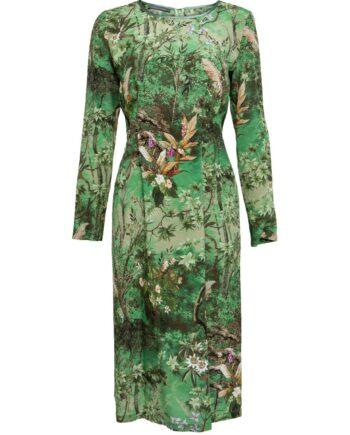 Knielanges Kleid aus Seide mit floralen Muster und langen Ärmeln-0
