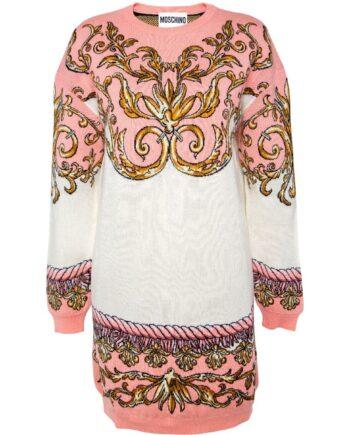 Kurzes Strickkleid in Schurwolle mit ornamentalem Muster-0