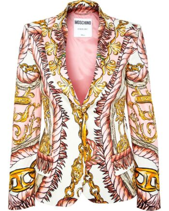 Slim-Cut-Blazer in Stretch-Baumwolle mit ornamentalem Musterprint-0