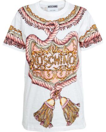 Kurzärmliges T-Shirt in Baumwolle mit Ornamenten und Logo-0