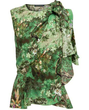 Ärmellose Bluse aus Seide mit floralem Muster und seitlichem Zipp-0
