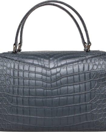 Henkel-Bag in Alligator-Leder mit Reißverschluss -0
