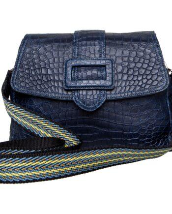 Klassische Tasche in Krokodil-Leder mit Leder- oder Stoffschultergurt-0
