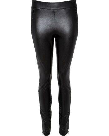 Hochelastische Leggings in Leder-Optik mit seitlichem Zier-Streifen-0