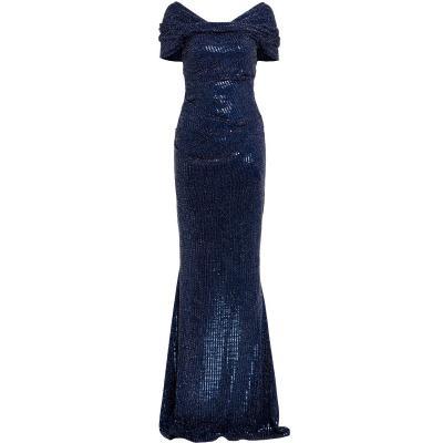 Figurbetontes Abendkleid mit Carmen Ausschnitt-0