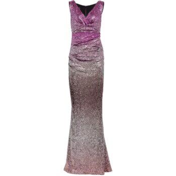 Abendkleid mit Meerjungfrauen Silhuette und V-Ausschnitt-0
