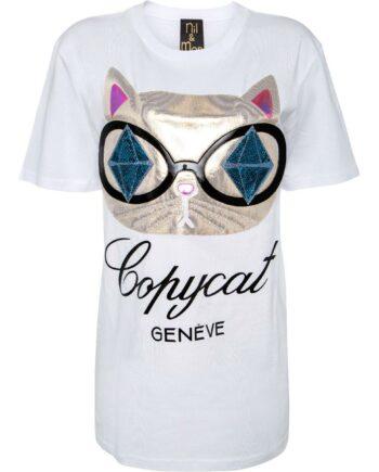 T-Shirt im geraden Schnitt mit Katzenprint-0