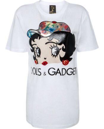 T-Shirt im geraden Schnitt mit Labelpersiflage-Print und Betty-Boo-Motiv-0