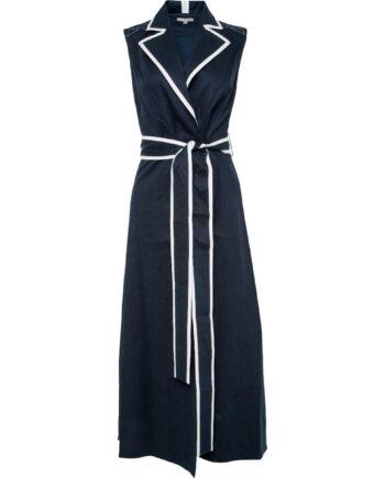 Midi-Kleid mit Reverskragen und breitem Taillenbindegürtel-0