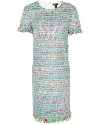 Knielanges Kleid im Rayongemisch im geraden Schnitt mit Fransendetails an den Ärmeln-0