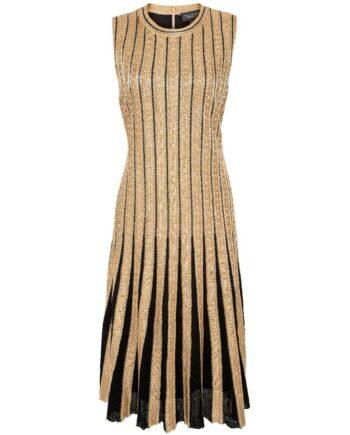 Kniebedeckendes Metallic-Kleid mit plissierten Details am Rockteil und Nietenzier-0