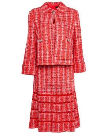 Set aus knielangem Tweedkleid und passendem Blazer-0