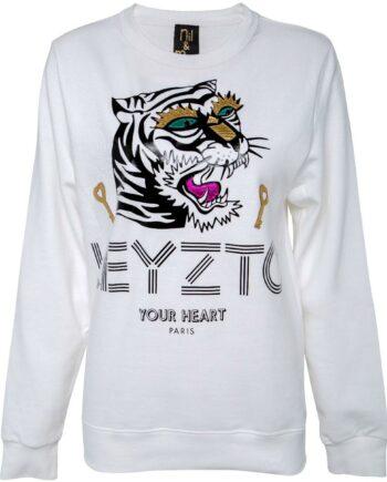 Sweater im geraden Schnitt mit Labelpersiflage-Print und Tigermotiv-0