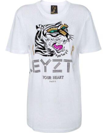 T-Shirt im geraden Schnitt mit Labelpersiflage-Print und Tigermotiv-0