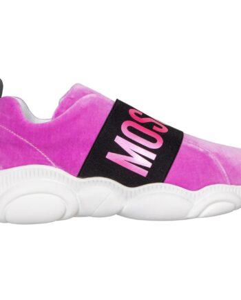 Samt Sneakers mit Gummiband, passendem Logo und Moschino Teddy Bear-förmiger Sohle-0