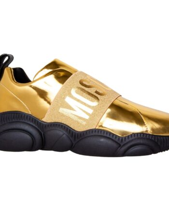 Lackleder Sneakers mit Gummiband, passendem Logo und Moschino Teddy Bear-förmiger Sohle-0