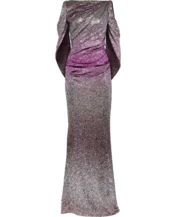 Figurschmeichelndes drapiertes Abendkleid mit hochgeschlossenem U-Boot Ausschnitt -0