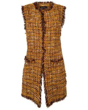 Tweed Gilet mit Fransendetails und aufgesetzen Taschen-0