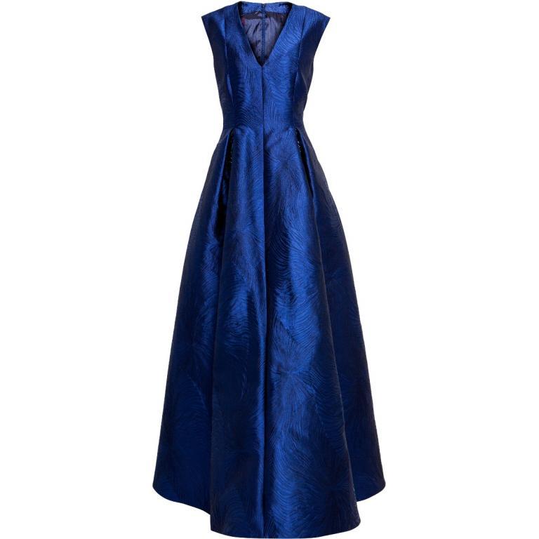 Tailliertes Abendkleid aus Licuala Grandis Jacquard mit V-Ausschnitt und Paillettenstickerei-0