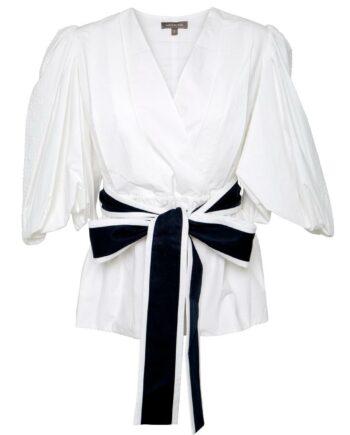 Taillierte Baumwoll-Bluse mit Puffärmel und Taillenbindegürtel-0