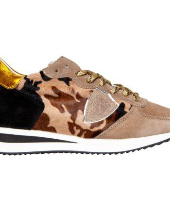 Sneakers mit Camouflage Ponyleder und Lacknappaleder-0