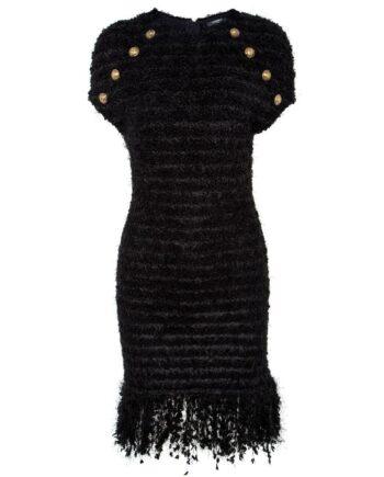 Knielanges Tweedoptik-Kleid mit Fransendetails am Saum und Logoknopfzier-0