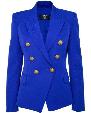 Silhouettennaher, taillierter Blazer mit Schulterpolster und Logoknopf-Schließe-0