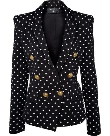 Silhouettennaher, taillierter Blazer mit Polka-Dots und Logoknöpfen-0