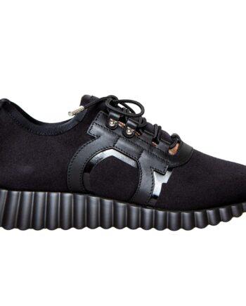 Sneakers aus Stoff und seitlichen Lederlogo-0