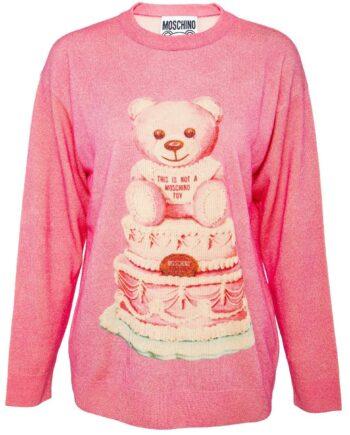 Pullover in Schurwolle mit zarten Glitzerfäden und mit Teddy-Bär-Motiv-0