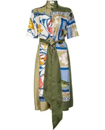 Kniebedeckendes Hemdblusenkleid in Seide mit Taillenbindegürtel und ornamentalem Musterprint-0