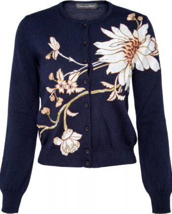 Hüftlanger Cardigan in Schurwolle mit floralen Applikationen-0