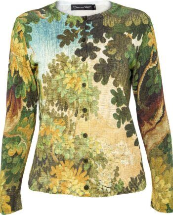 Hüftlanger Cardigan im Viskose-Baumwollmix mit Blättermotiv-Print-0