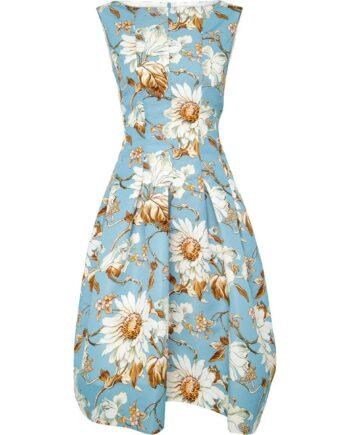 Kniebedeckendes, tailliertes Kleid mit floralem Musterprint und ausgestelltem Rockteil-0