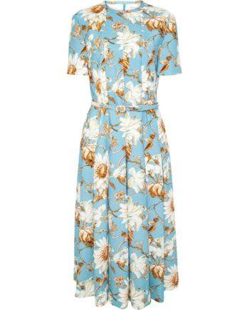 Kniebedeckendes Kleid mit floralem Musterprint und schmalem Taillengürtel-0