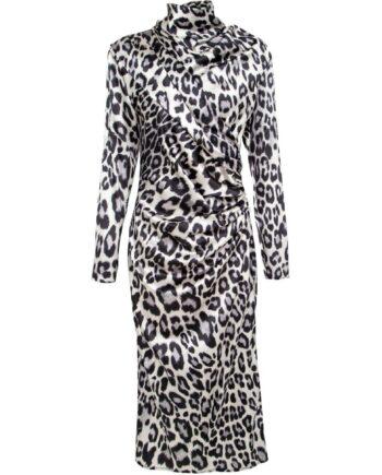 Leoprint-Kleid in Stretch-Seide mit Raffungen und kleinem Stehkragen-0