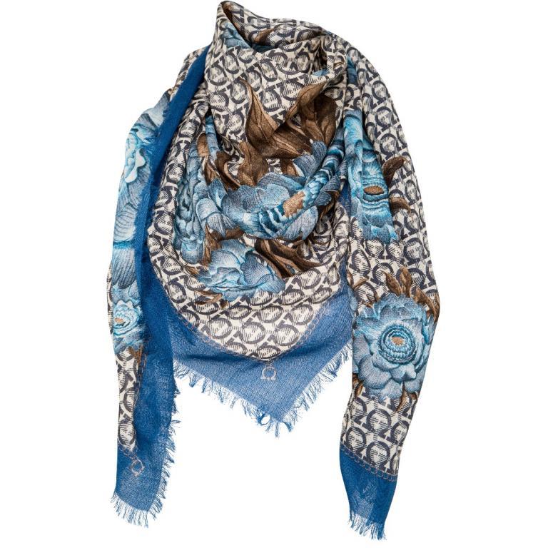 Woll-Foulard mit ornamentalem Blumenprint und ausgefransten Kanten-0