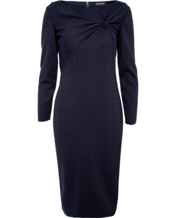Silhouettennahes Kleid in Midi-Länge mit Drapage am Dekolleté-0