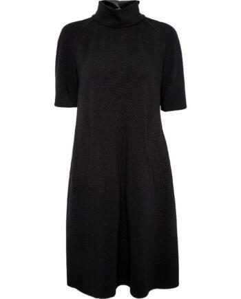 Knielanges Kleid mit Stehkragen, seitlichen Schubtaschen und rückseitigem Zippdetail-0