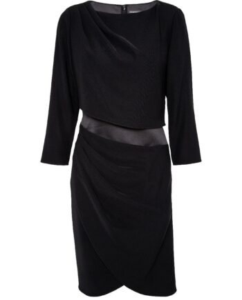 Knielanges Kleid mit asymmetrischem Tailleneinsatz-0