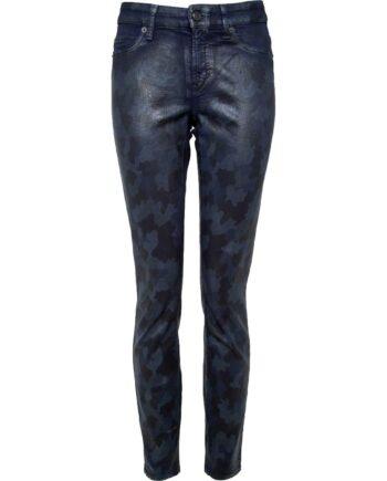 Slim-Pants in Leder-Optik mit Camouflage-Print-0