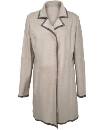 Lange Lammleder-Jacke mit kleinem Reverskragen-0
