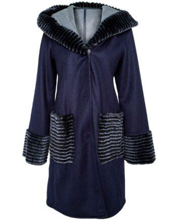 Mantel Schurwolle-Kaschmirmix mit Kapuze, Felldetails, aufgesetzten Taschen und Bindegürtel-0